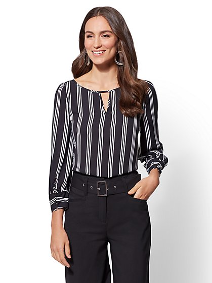 7th Avenue - Stripe Hi-Lo Blouse - New York & Company