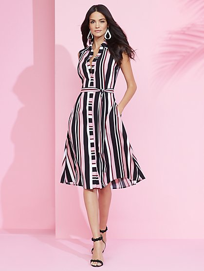 7th Avenue - Stripe Midi Shirtdress - New York & Company