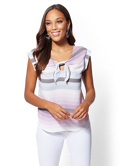 7th Avenue - Stripe Tie-Front Blouse - New York & Company