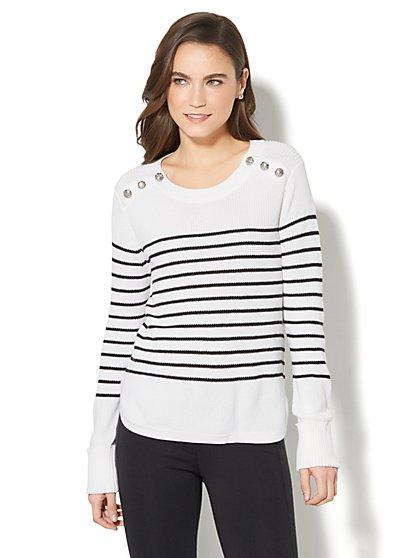 7th Avenue - Striped Crewneck Sweater - New York & Company