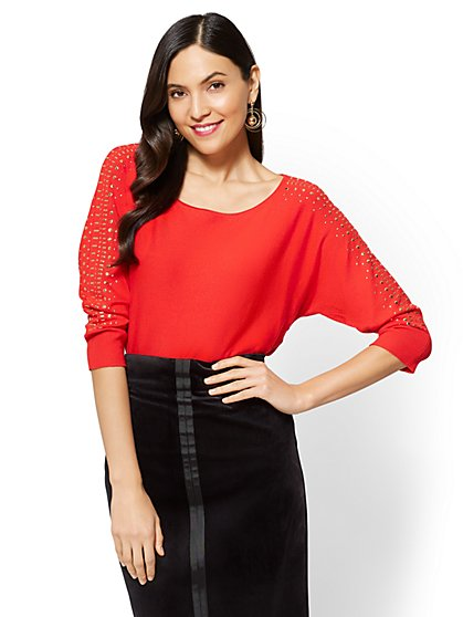 7th Avenue - Studded Dolman Sweater - New York & Company