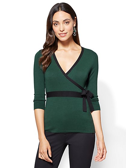 7th Avenue Sweater Collection - Bow-Accent Wrap  - New York & Company