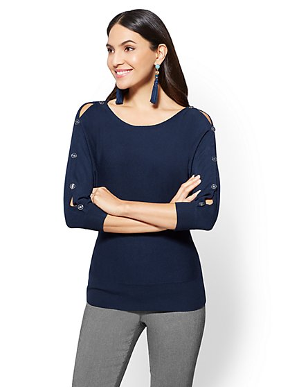 7th Avenue Sweater Collection - Button-Accent Dolman Sweater - New York & Company