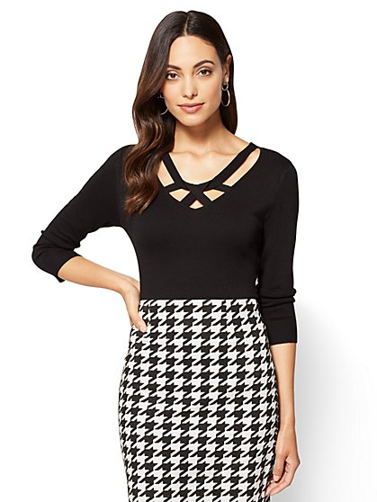 7th Avenue Sweater Collection - Criss-Cross V-Neck  - New York & Company