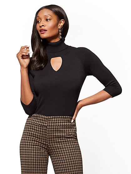 7th Avenue Sweater Collection - Keyhole Turtleneck Sweater - New York & Company