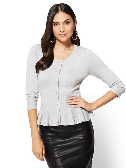 7th Avenue Sweater Collection - Peplum Cardigan - Grey  - New York & Company