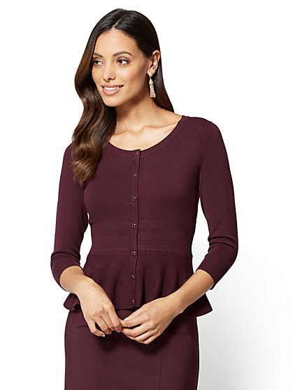 7th Avenue - Sweater Collection - Peplum Cardigan - Tall - New York & Company