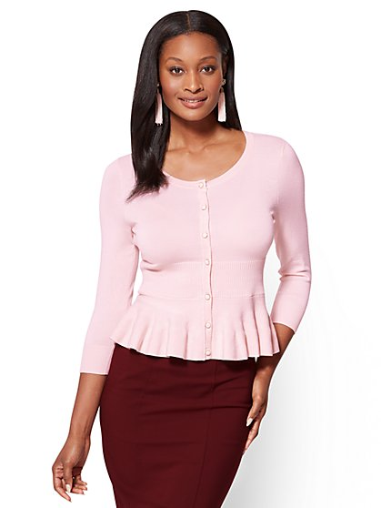 7th Avenue - Sweater Collection - Peplum Cardigan  - New York & Company