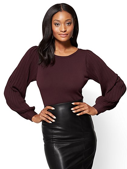 7th Avenue Sweater Collection – Pleated-Sleeve Sweater - New York & Company