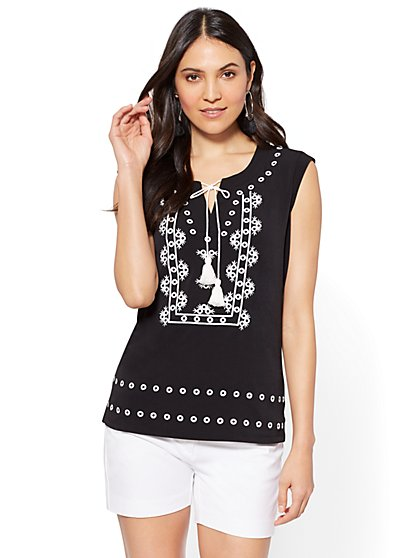 7th Avenue - Tassel-Accent Embroidered Top - New York & Company