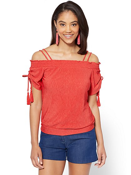 7th Avenue - Tassel-Accent Off-The-Shoulder Blouse - New York & Company