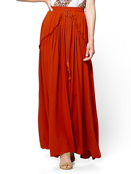 7th Avenue Tassel-Accent Ruffled Maxi Skirt - New York & Company