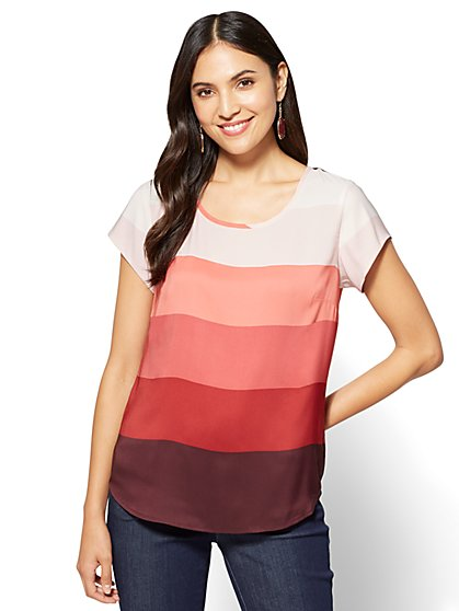 7th Avenue Tee - Colorblock - Petite  - New York & Company