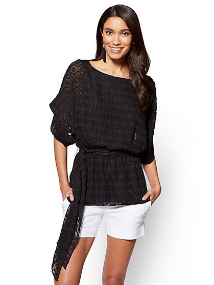 7th Avenue - Textured Kimono Blouse - Petite - New York & Company