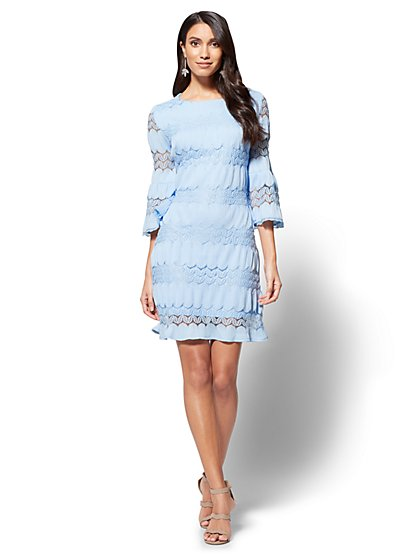 7th Avenue Textured Lace Shift Dress  - New York & Company