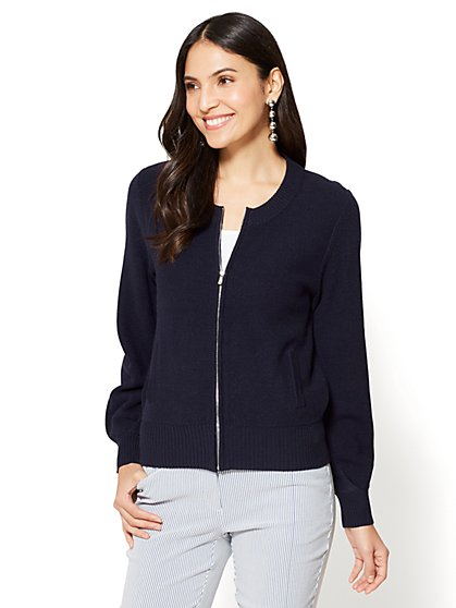 7th Avenue - Textured Zip-Front Cardigan - New York & Company