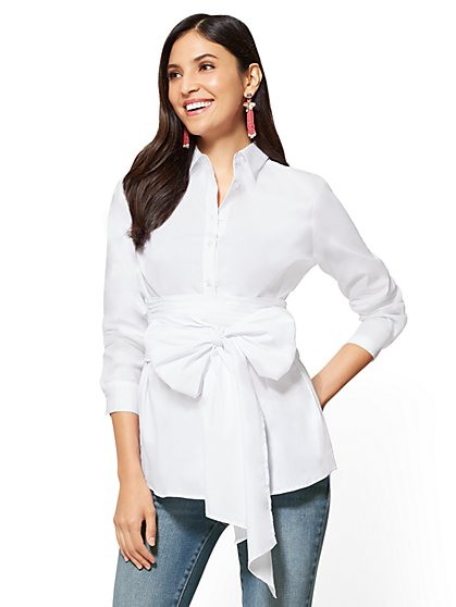 7th Avenue - Tie-Detail Poplin Shirt - New York & Company