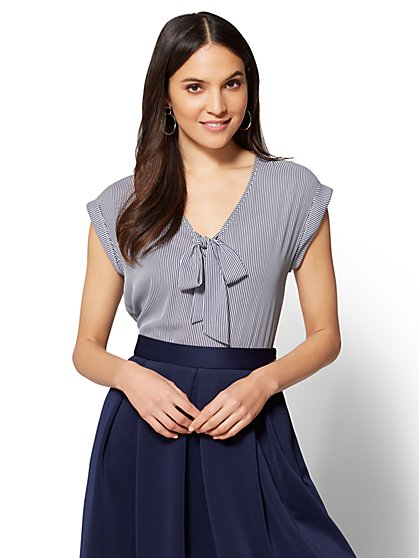 7th Avenue - Tie-Front Blouse - Stripe - New York & Company