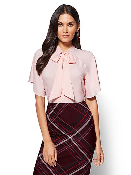 7th Avenue - Tie-Front Bodysuit - Peach  - New York & Company