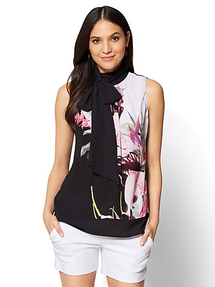 7th Avenue - Tie-Front Halter Blouse - Black Floral - New York & Company