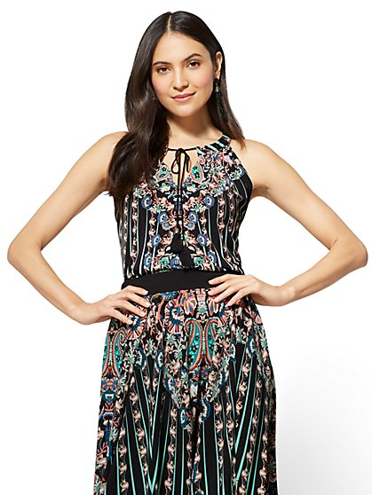 7th Avenue - Tie-Front Halter Blouse - Print - New York & Company