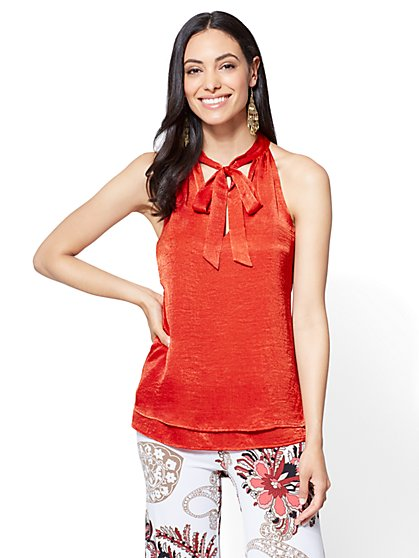 7th Avenue - Tie-Front Halter Blouse - New York & Company