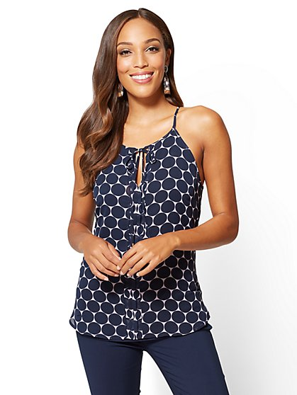 7th Avenue - Tie-Front Halter Top - Dot Print - New York & Company
