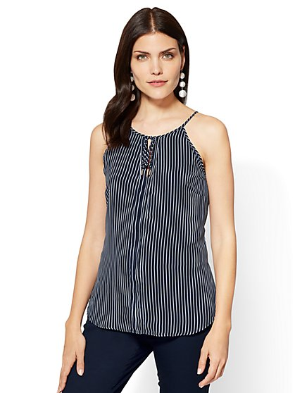 7th Avenue - Tie-Front Halter Top - Stripe - New York & Company