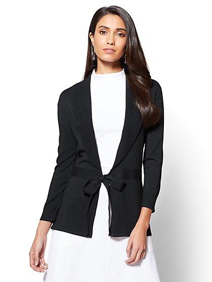 7th Avenue - Tie-Front Shawl Collar Cardigan  - New York & Company