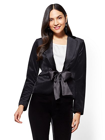 7th Avenue - Tie-Front Velvet Jacket - New York & Company