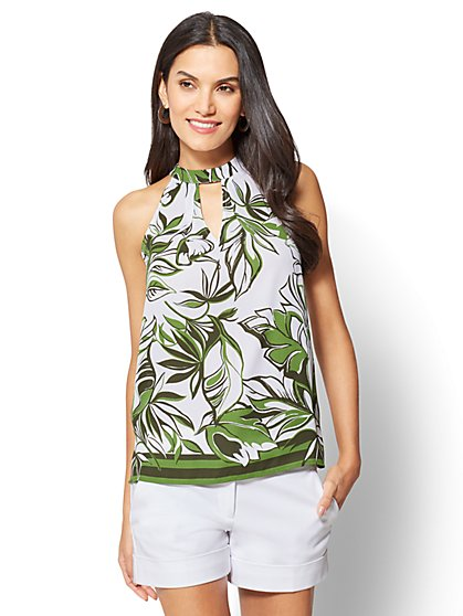 7th Avenue - Tie-Neck Halter Blouse - New York & Company