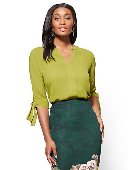 7th Avenue Tie-Sleeve Blouse  - New York & Company