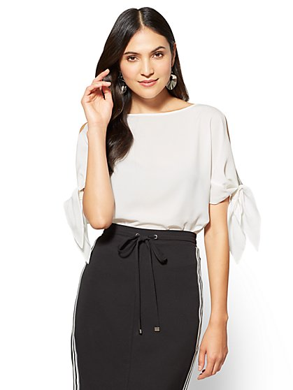 7th Avenue - Tie-Sleeve Cold-Shoulder Blouse  - New York & Company