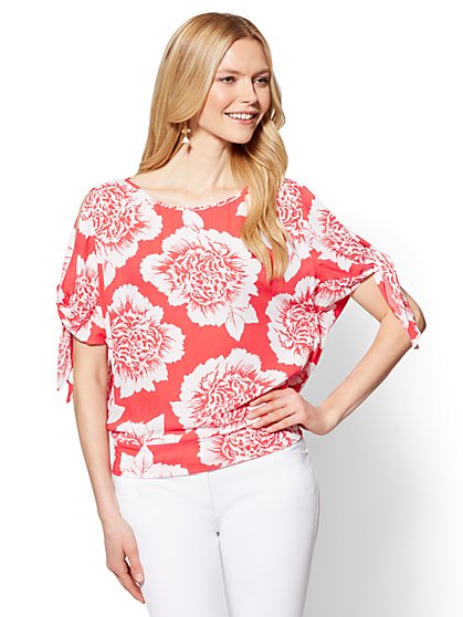 7th Avenue - Tie-Sleeve Cold-Shoulder Top - Floral - New York & Company