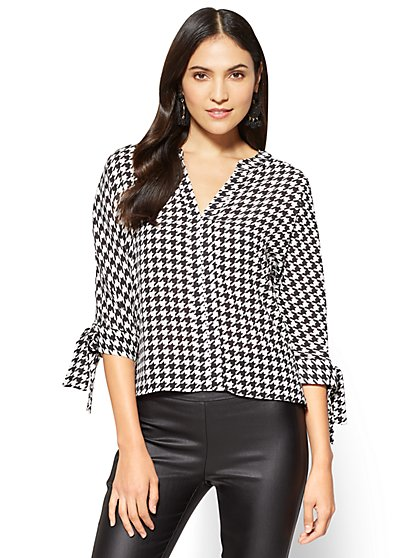 7th Avenue - Tie-Sleeve Split-Neck Blouse - Houndstooth - New York & Company