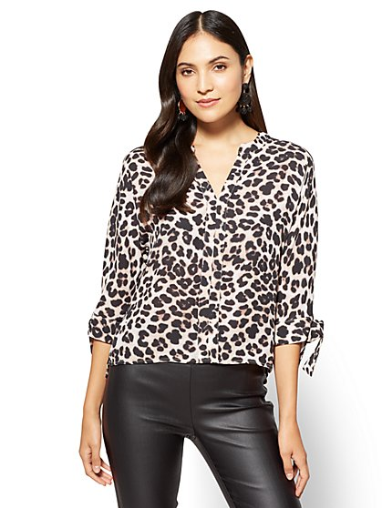 7th Avenue - Tie-Sleeve Split-Neck Blouse - Leopard - Petite  - New York & Company