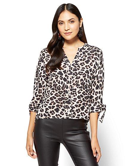 7th Avenue - Tie-Sleeve Split-Neck Blouse - Leopard - Tall  - New York & Company