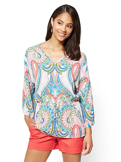 7th Avenue - Tie-Waist Kimono Blouse - Paisley - New York & Company