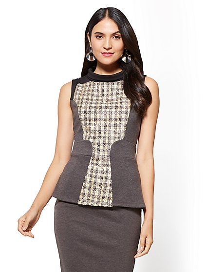 7th Avenue - Tweed Boucle Peplum Top - New York & Company