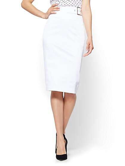 7th Avenue - Twill Pencil Skirt - White - New York & Company