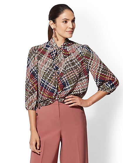 7th Avenue - Twist-Front Tie-Neck Blouse - New York & Company