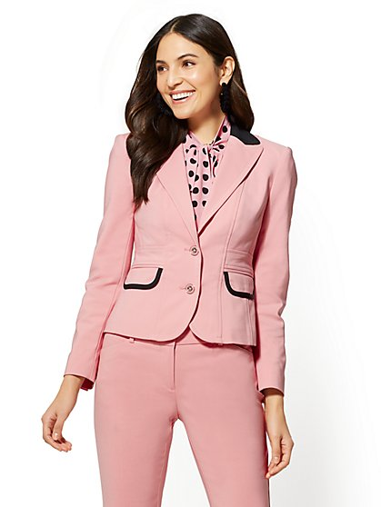 7th Avenue - Two-Button Jacket - All-Season Stretch - Pink - New York & Company