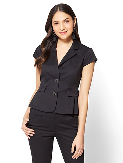 7th Avenue - Two-Button Peplum Jacket - Black - Tall - New York & Company