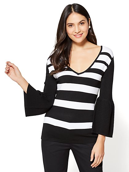 7th Avenue - V-Neck Bell-Sleeve Sweater - Stripe - New York & Company