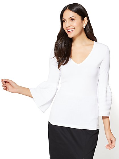 7th Avenue - V-Neck Bell-Sleeve Sweater - New York & Company