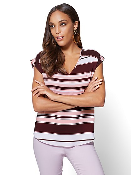 7th Avenue - V-Neck Blouse - Stripe - New York & Company