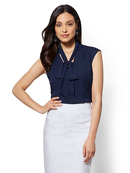 7th Avenue - V-Neck Bow Blouse - New York & Company