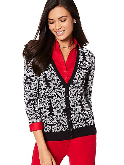 7th Avenue - V-Neck Chelsea Cardigan - Lurex Jacquard - New York & Company