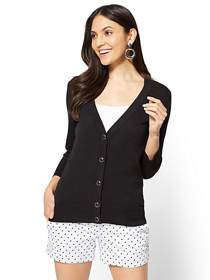 7th Avenue - V-Neck Chelsea Cardigan - Novelty Button - New York & Company