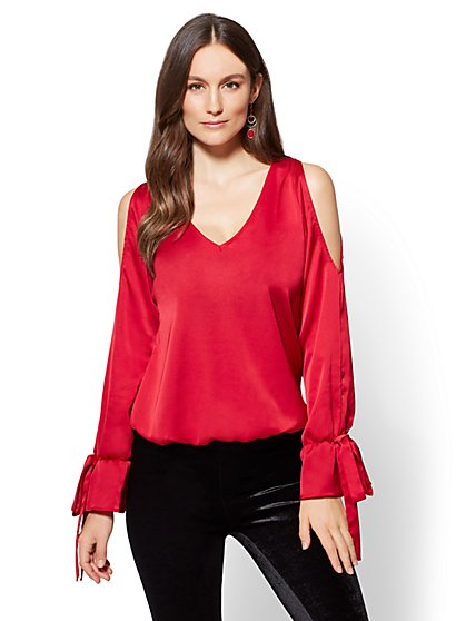 7th Avenue - V-Neck Cold-Shoulder Blouse - New York & Company